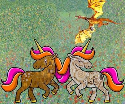 Stage Sculpture Klimt, licornes & dragons