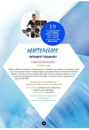 Masterclass : Événement pédagogique autour du Cristal Baschet